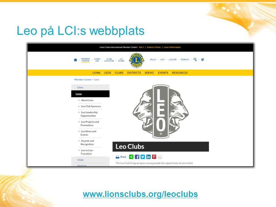Leo på LCI:s webbplats www.lionsclubs.org/leoclubs
