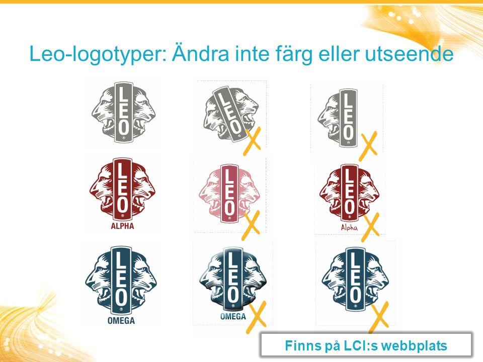 Leo-logotyper: Ändra inte färg eller utseende Finns på LCI:s webbplats