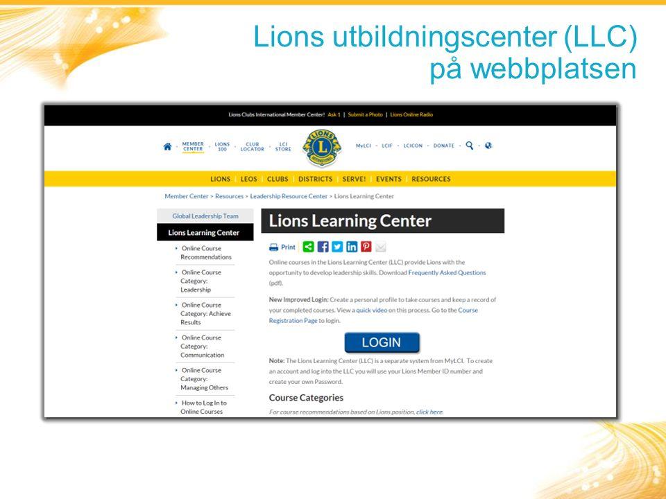 Lions utbildningscenter (LLC) på webbplatsen