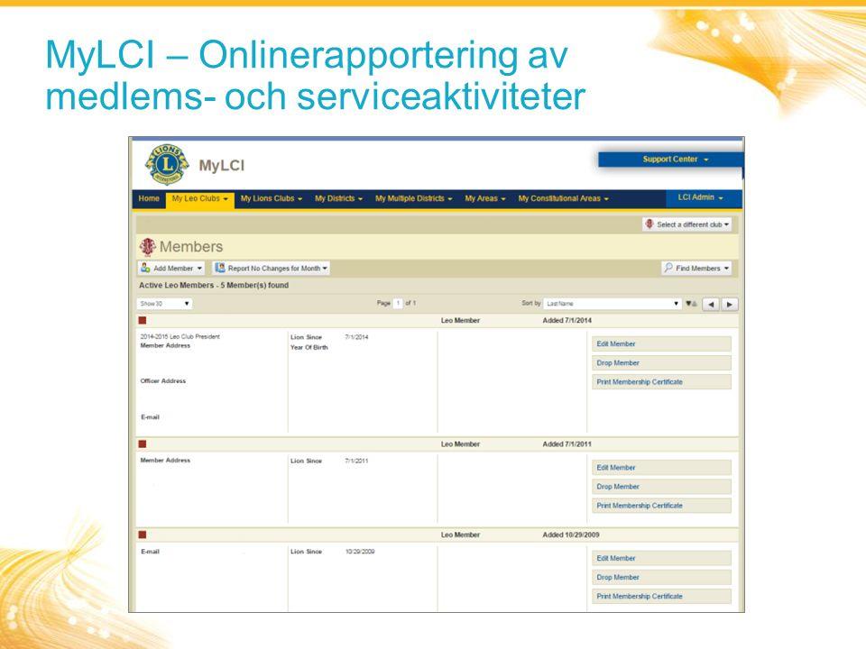 MyLCI – Onlinerapportering av medlems- och serviceaktiviteter