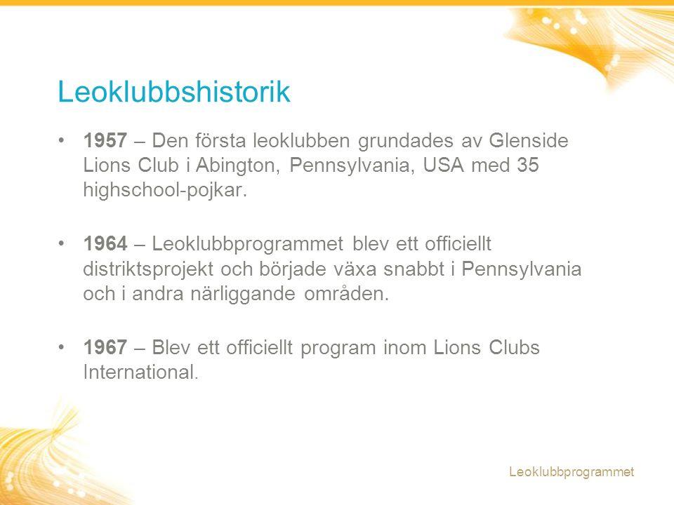 1957 – Den första leoklubben grundades av Glenside Lions Club i Abington, Pennsylvania, USA med 35 highschool-pojkar. 1964 – Leoklubbprogrammet blev e