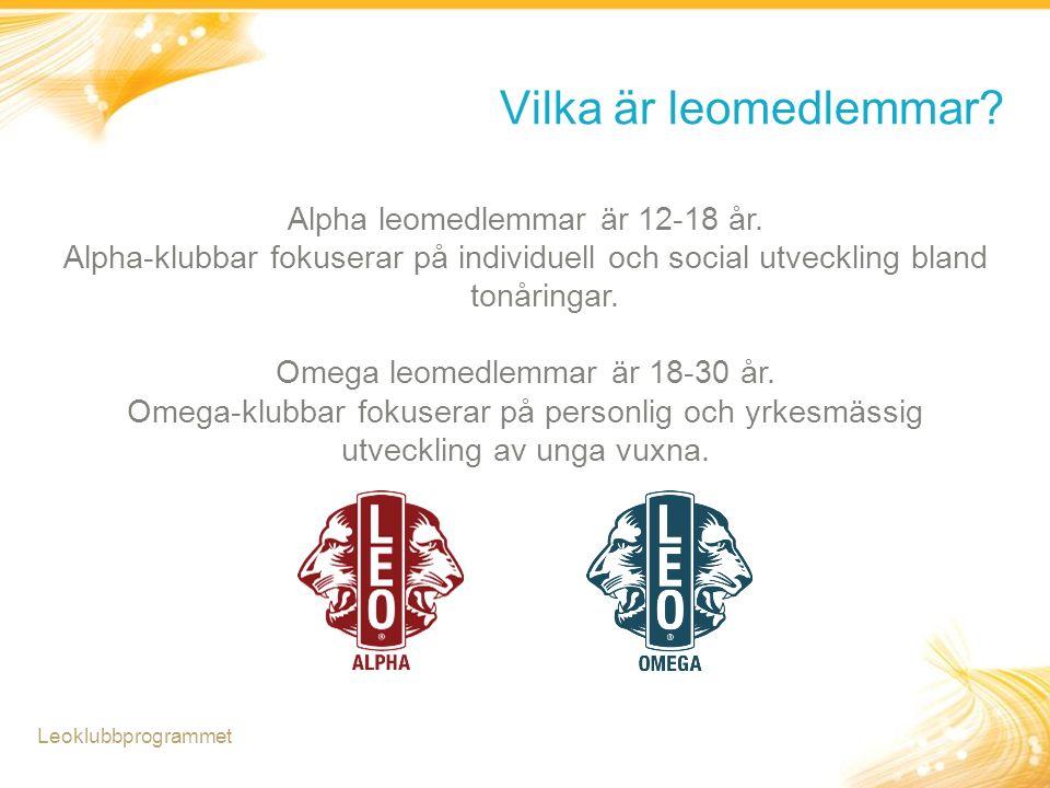 Vilka är leomedlemmar? Leoklubbprogrammet Alpha leomedlemmar är 12-18 år. Alpha-klubbar fokuserar på individuell och social utveckling bland tonåringa