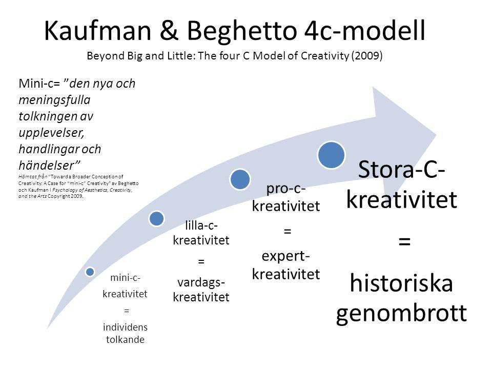 Kaufman & Beghetto 4c-modell Beyond Big and Little: The four C Model of Creativity (2009) mini-c- kreativitet = individens tolkande lilla-c- kreativitet = vardags- kreativitet pro-c- kreativitet = expert- kreativitet Stora-C- kreativitet = historiska genombrott Mini-c= den nya och meningsfulla tolkningen av upplevelser, handlingar och händelser Hämtat från Toward a Broader Conception of Creativity: A Case for mini-c Creativity av Beghetto och Kaufman I Psychology of Aesthetics, Creativity, and the Arts Copyright 2009.