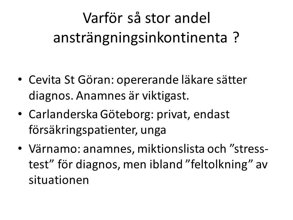 Varför så stor andel ansträngningsinkontinenta . Cevita St Göran: opererande läkare sätter diagnos.
