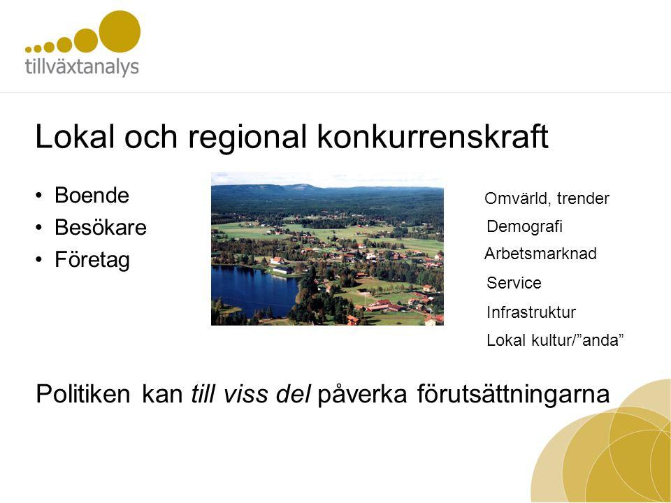 Lokal och regional konkurrenskraft Boende Besökare Företag Omvärld, trender Demografi Arbetsmarknad Service Lokal kultur/ anda Infrastruktur Politiken kan till viss del påverka förutsättningarna