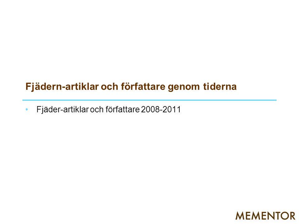 Fjädern-artiklar och författare genom tiderna Fjäder-artiklar och författare 2008-2011