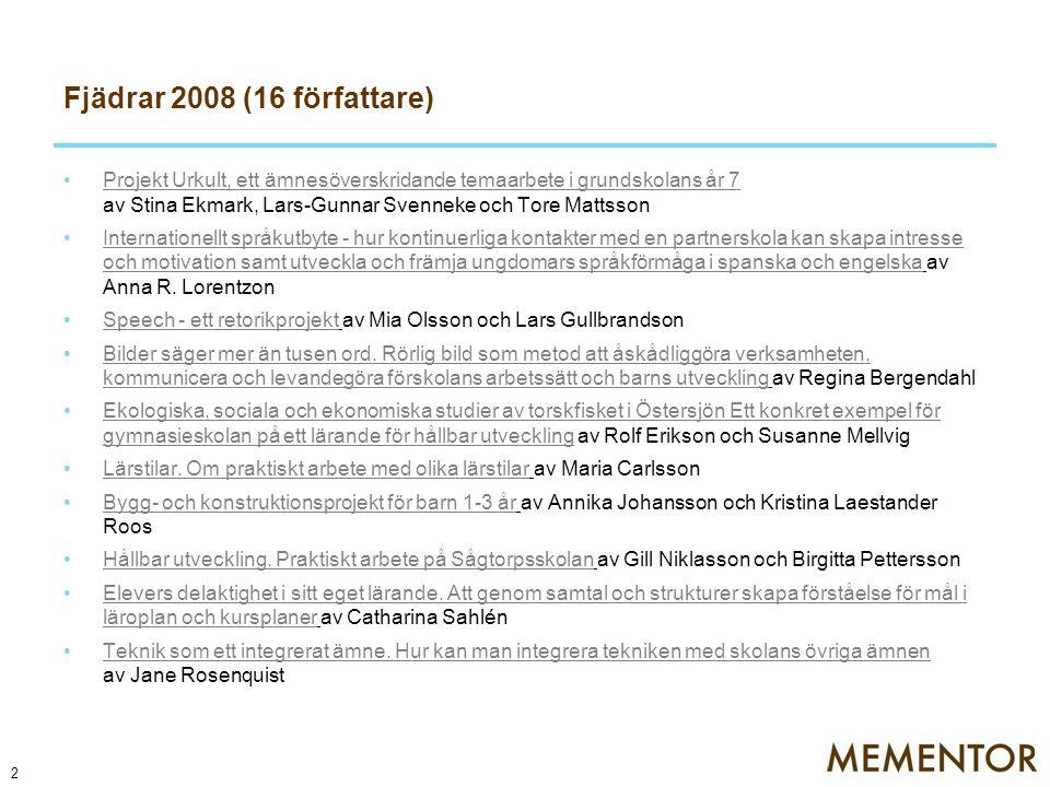 Fjädern 2009 (17 författare) Elevers inflytande under fritidshemsverksamheten.