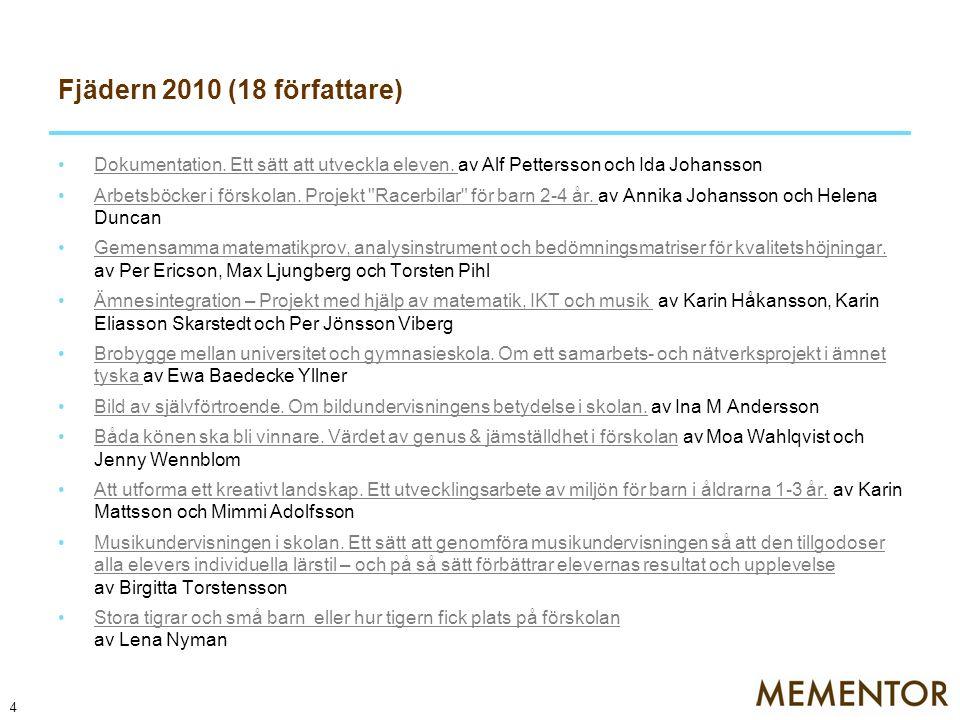 Fjädern 2011 (15 författare) Maryam Herlin, förskollärare, Amadeus förskola, kommer att skriva sin artikel om Tema Staden .
