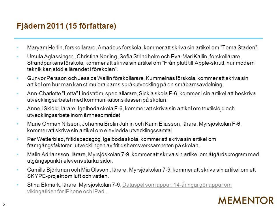 """Fjädern 2011 (15 författare) Maryam Herlin, förskollärare, Amadeus förskola, kommer att skriva sin artikel om """"Tema Staden"""". Ursula Aglassinger,, Chri"""