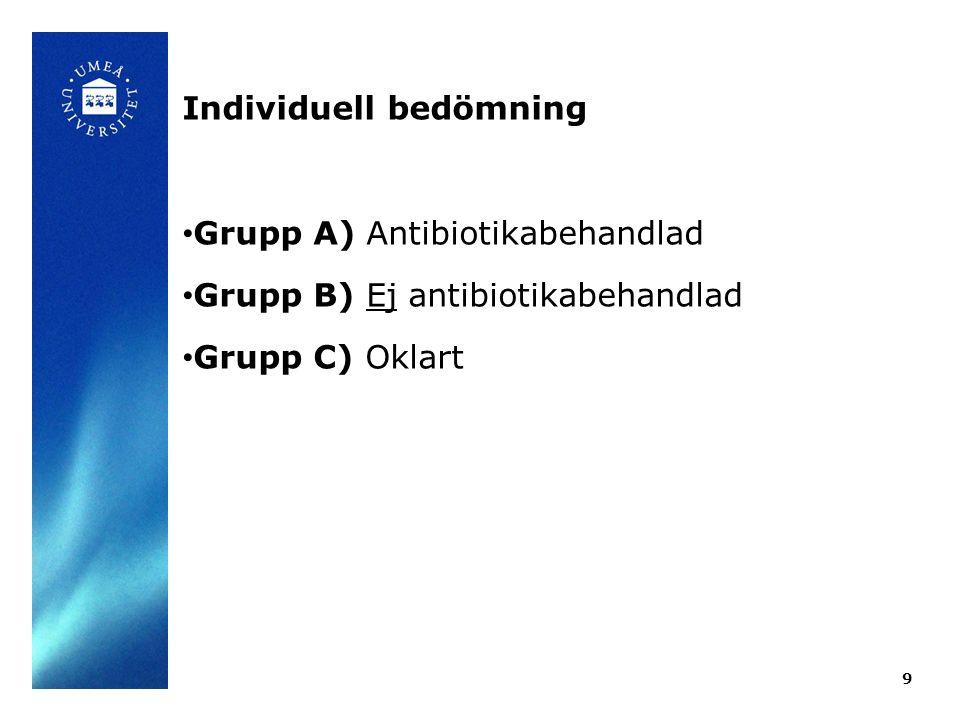 9 Individuell bedömning Grupp A) Antibiotikabehandlad Grupp B) Ej antibiotikabehandlad Grupp C) Oklart