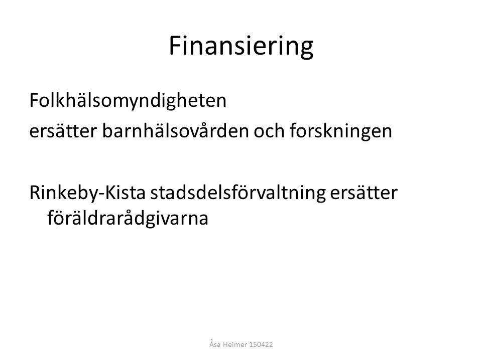 Finansiering Folkhälsomyndigheten ersätter barnhälsovården och forskningen Rinkeby-Kista stadsdelsförvaltning ersätter föräldrarådgivarna Åsa Heimer 1