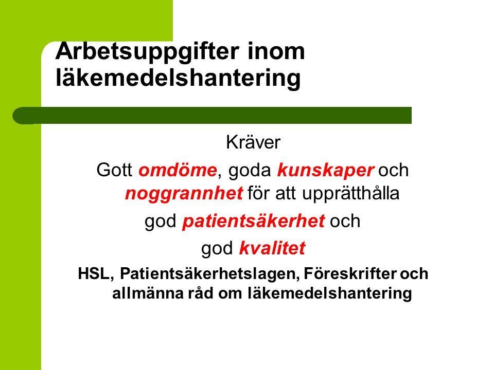 Arbetsuppgifter inom läkemedelshantering Kräver Gott omdöme, goda kunskaper och noggrannhet för att upprätthålla god patientsäkerhet och god kvalitet