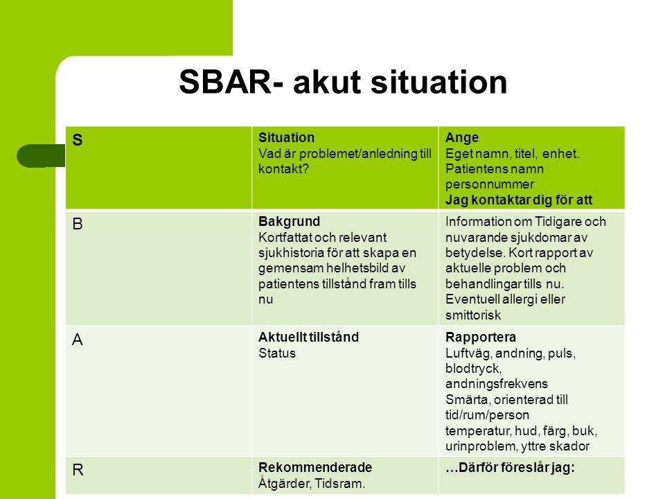 SBAR- akut situation S Situation Vad är problemet/anledning till kontakt? Ange Eget namn, titel, enhet. Patientens namn personnummer Jag kontaktar dig