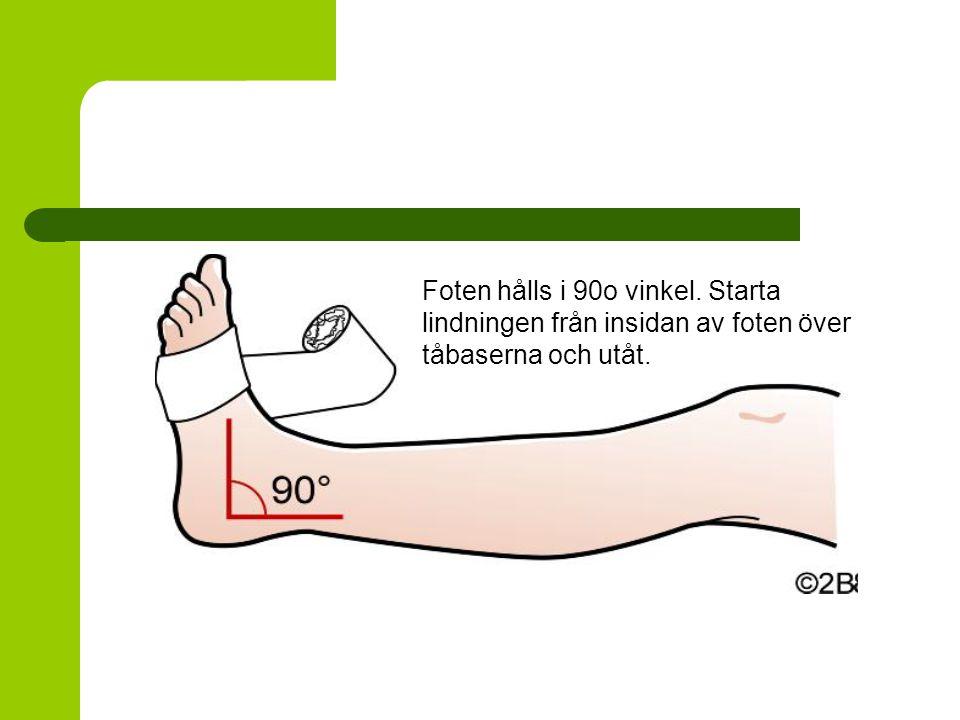 Foten hålls i 90o vinkel. Starta lindningen från insidan av foten över tåbaserna och utåt.
