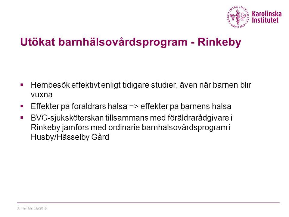 Utökat barnhälsovårdsprogram - Rinkeby  Hembesök effektivt enligt tidigare studier, även när barnen blir vuxna  Effekter på föräldrars hälsa => effe