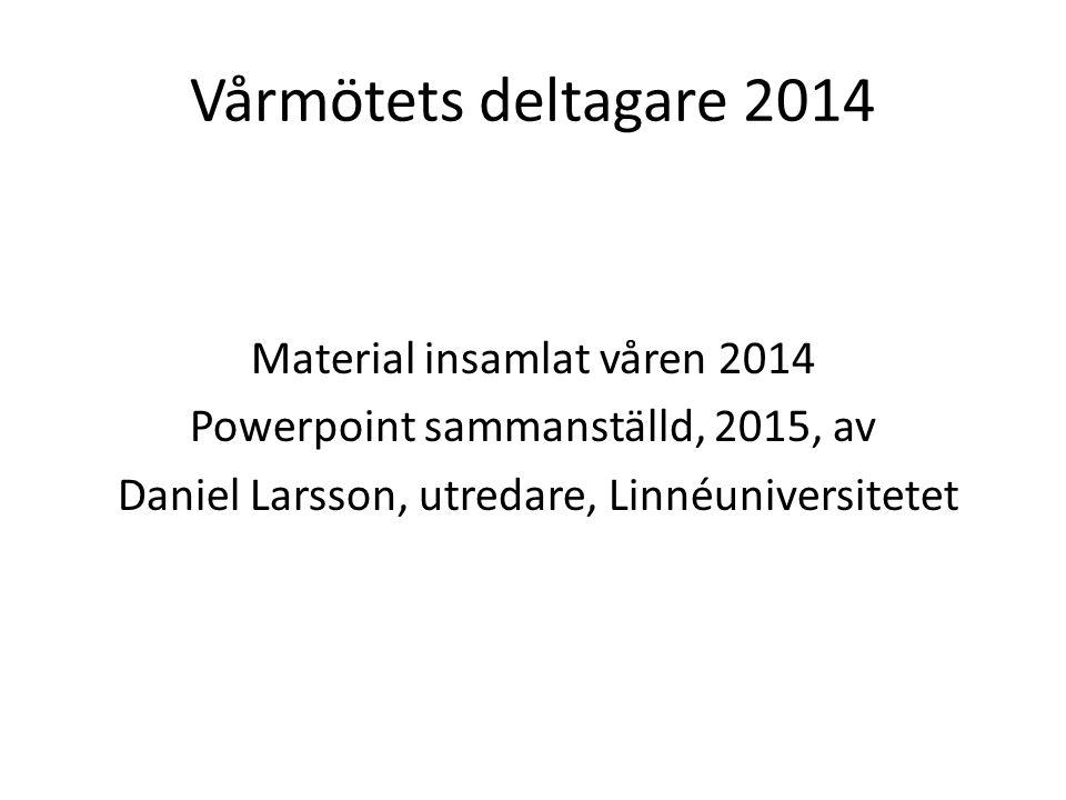 Vårmötets deltagare 2014 Material insamlat våren 2014 Powerpoint sammanställd, 2015, av Daniel Larsson, utredare, Linnéuniversitetet