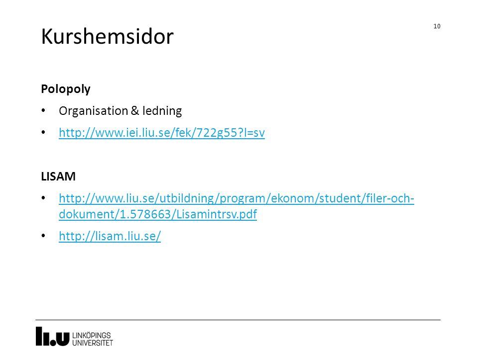 Kurshemsidor 10 Polopoly Organisation & ledning http://www.iei.liu.se/fek/722g55?l=sv LISAM http://www.liu.se/utbildning/program/ekonom/student/filer-