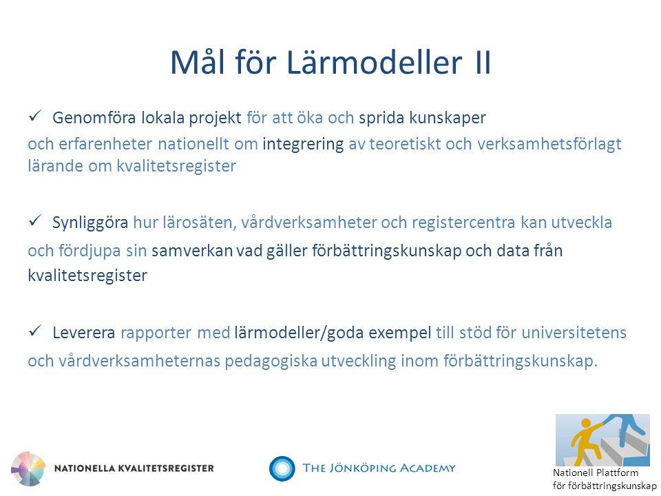 Mål för Lärmodeller II Genomföra lokala projekt för att öka och sprida kunskaper och erfarenheter nationellt om integrering av teoretiskt och verksamh