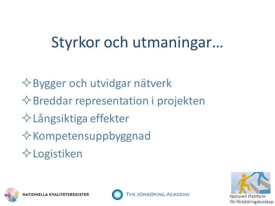  Bygger och utvidgar nätverk  Breddar representation i projekten  Långsiktiga effekter  Kompetensuppbyggnad  Logistiken Styrkor och utmaningar… N