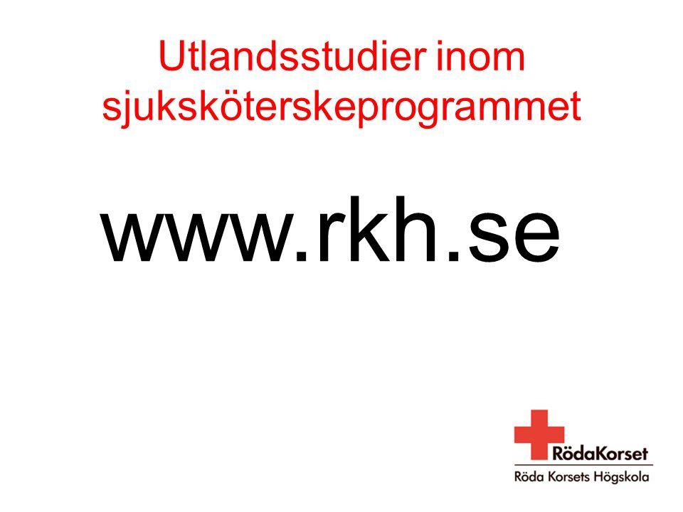 Utlandsstudier inom sjuksköterskeprogrammet www.rkh.se