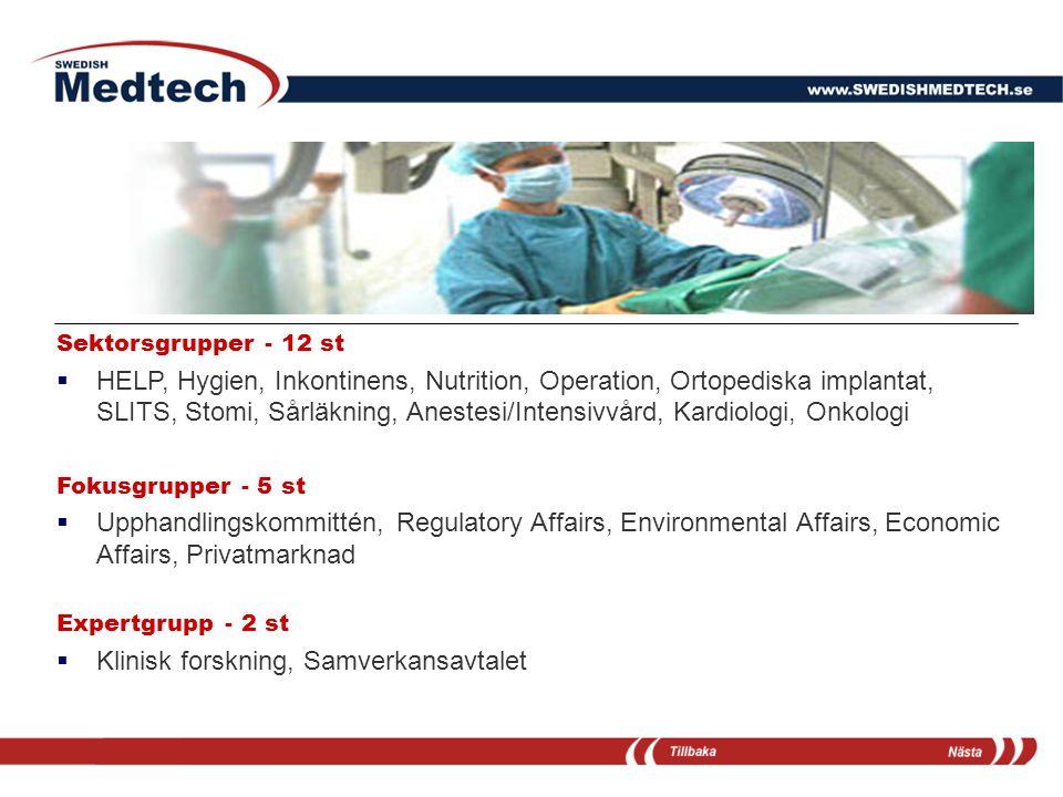 Sektorsgrupper - 12 st  HELP, Hygien, Inkontinens, Nutrition, Operation, Ortopediska implantat, SLITS, Stomi, Sårläkning, Anestesi/Intensivvård, Kard
