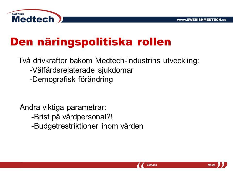 Den näringspolitiska rollen Två drivkrafter bakom Medtech-industrins utveckling: -Välfärdsrelaterade sjukdomar -Demografisk förändring Andra viktiga p