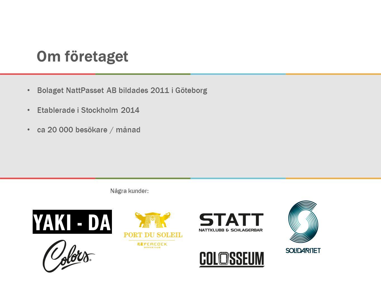 Om företaget Bolaget NattPasset AB bildades 2011 i Göteborg Etablerade i Stockholm 2014 ca 20 000 besökare / månad Några kunder: