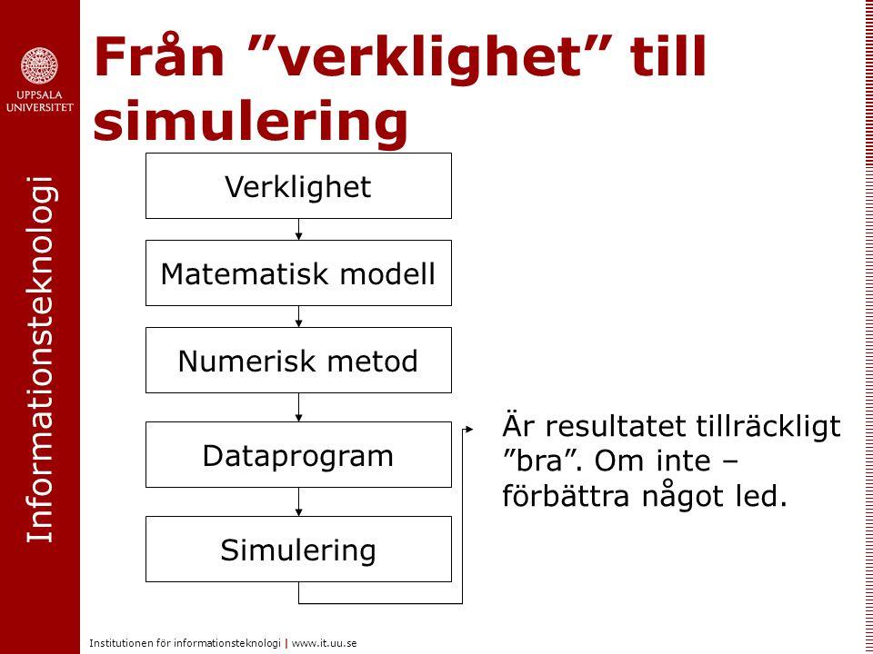 Informationsteknologi Institutionen för informationsteknologi | www.it.uu.se Från verklighet till simulering Verklighet Matematisk modell Numerisk metod Dataprogram Simulering Är resultatet tillräckligt bra .