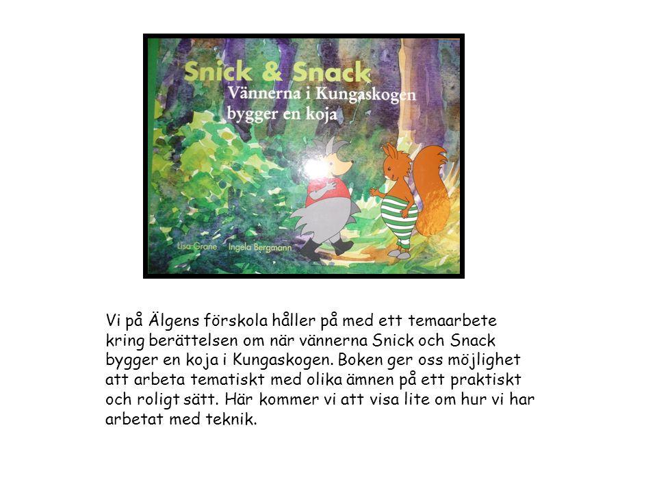 Vi på Älgens förskola håller på med ett temaarbete kring berättelsen om när vännerna Snick och Snack bygger en koja i Kungaskogen.