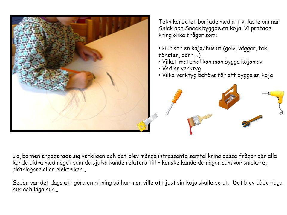 Teknikarbetet började med att vi läste om när Snick och Snack byggde en koja. Vi pratade kring olika frågor som: Hur ser en koja/hus ut (golv, väggar,