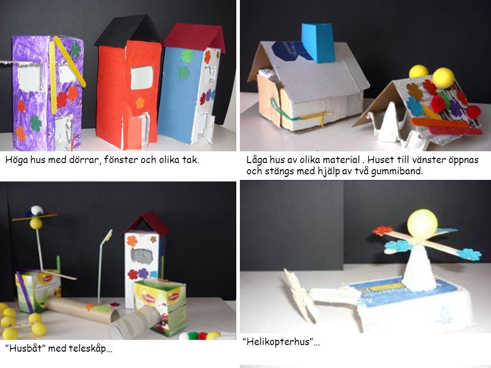 Bygga hus med hjälp av Pusselbitar av färgat papper Här är ett tips på hur man kan kombinera ihop ett eget hus med hjälp av olika former i färgat papper.