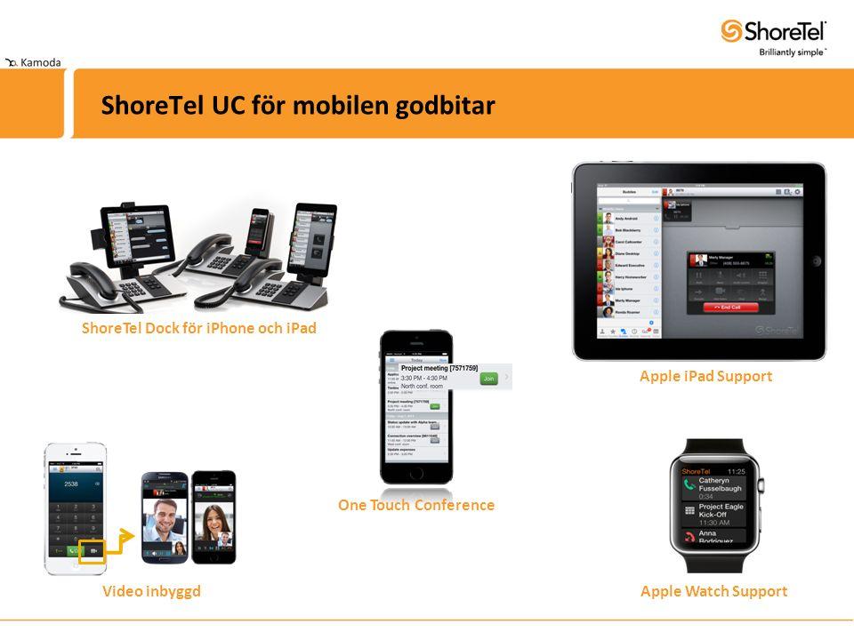ShoreTel UC för mobilen godbitar ShoreTel Dock för iPhone och iPad Apple Watch Support One Touch Conference Apple iPad Support Video inbyggd