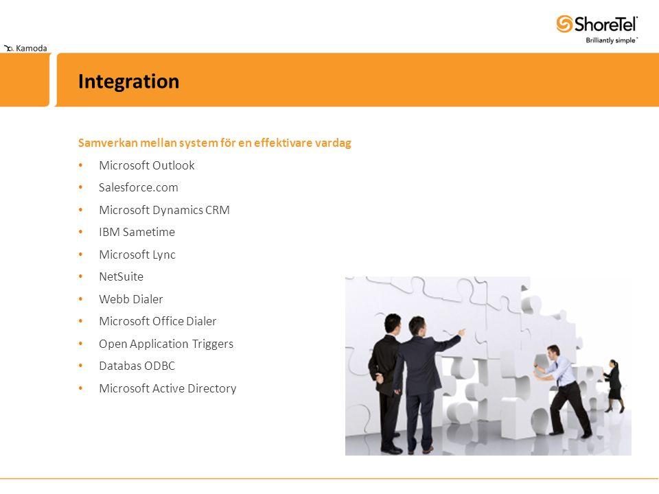 Samverkan mellan system för en effektivare vardag Microsoft Outlook Salesforce.com Microsoft Dynamics CRM IBM Sametime Microsoft Lync NetSuite Webb Di
