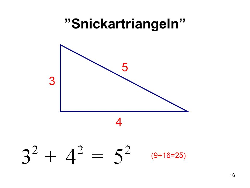 """16 """"Snickartriangeln"""" 5 4 3 (9+16=25)"""