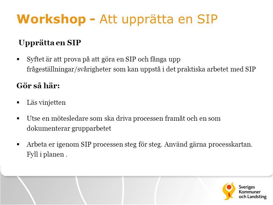 Workshop - Att upprätta en SIP Upprätta en SIP  Syftet är att prova på att göra en SIP och fånga upp frågeställningar/svårigheter som kan uppstå i de