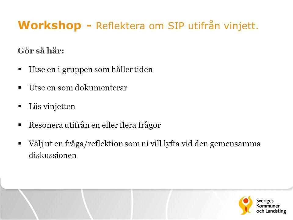 Workshop - Reflektera om SIP utifrån vinjett. Gör så här:  Utse en i gruppen som håller tiden  Utse en som dokumenterar  Läs vinjetten  Resonera u
