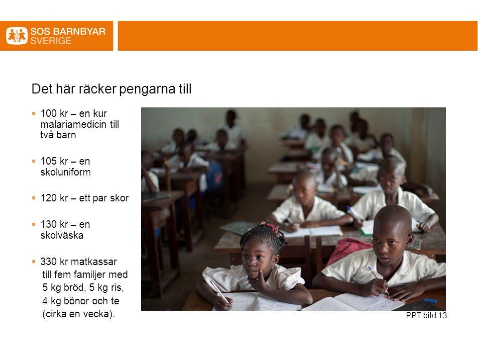 Det här räcker pengarna till  100 kr – en kur malariamedicin till två barn  105 kr – en skoluniform  120 kr – ett par skor  130 kr – en skolväska  330 kr matkassar till fem familjer med 5 kg bröd, 5 kg ris, 4 kg bönor och te (cirka en vecka).