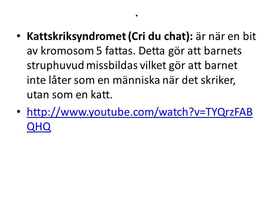 . Kattskriksyndromet (Cri du chat): är när en bit av kromosom 5 fattas. Detta gör att barnets struphuvud missbildas vilket gör att barnet inte låter s