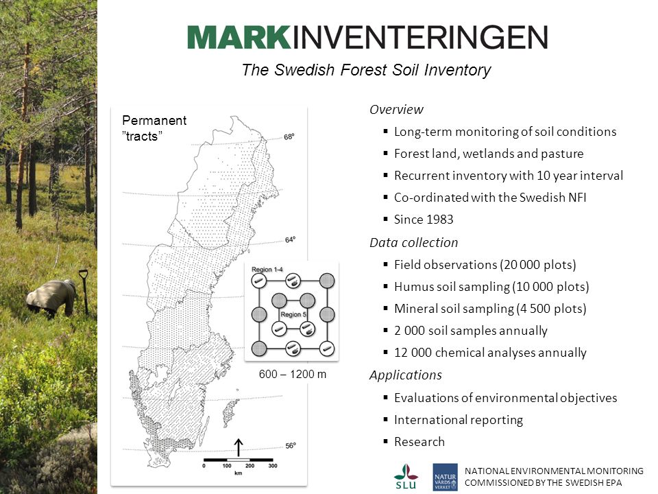 Overview  Long-term monitoring of soil conditions  Forest land, wetlands and pasture  Recurrent inventory with 10 year interval  Co-ordinated with