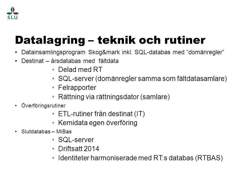 Datalagring – teknik och rutiner Datainsamlingsprogram Skog&mark inkl.