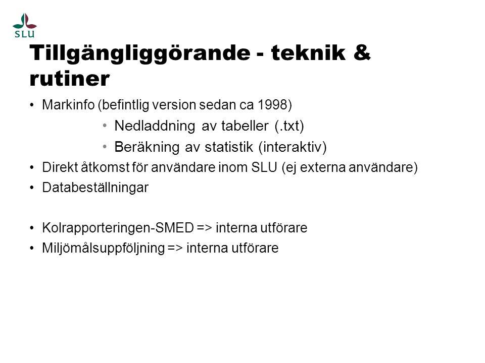 Tillgängliggörande - teknik & rutiner Markinfo (befintlig version sedan ca 1998) Nedladdning av tabeller (.txt) Beräkning av statistik (interaktiv) Direkt åtkomst för användare inom SLU (ej externa användare) Databeställningar Kolrapporteringen-SMED => interna utförare Miljömålsuppföljning => interna utförare
