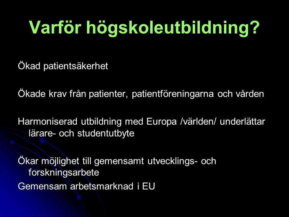 Varför högskoleutbildning? Ökad patientsäkerhet Ökade krav från patienter, patientföreningarna och vården Harmoniserad utbildning med Europa /världen/