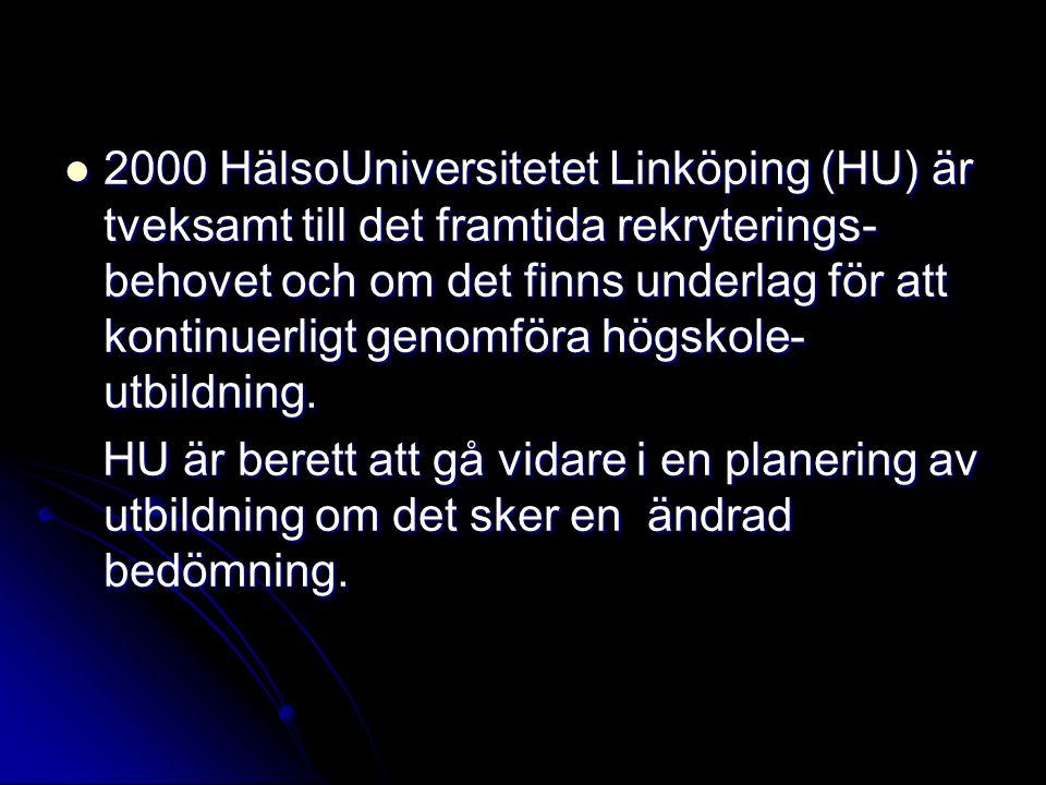 2000 HälsoUniversitetet Linköping (HU) är tveksamt till det framtida rekryterings- behovet och om det finns underlag för att kontinuerligt genomföra h