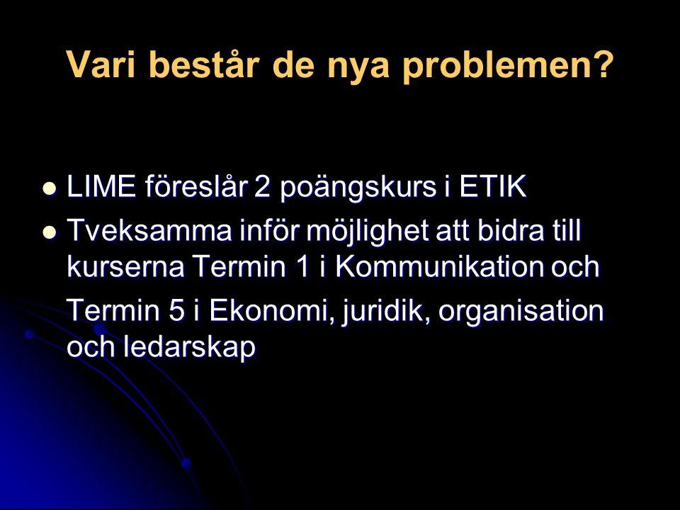 Vari består de nya problemen? LIME föreslår 2 poängskurs i ETIK LIME föreslår 2 poängskurs i ETIK Tveksamma inför möjlighet att bidra till kurserna Te