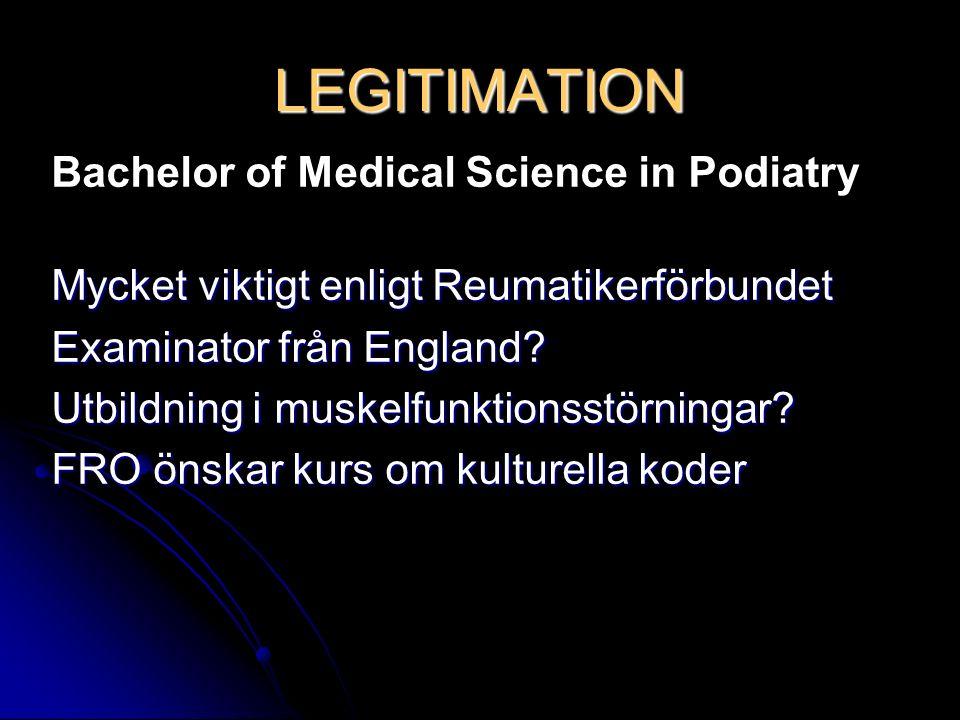Bachelor of Medical Science in Podiatry Mycket viktigt enligt Reumatikerförbundet Examinator från England? Utbildning i muskelfunktionsstörningar? FRO