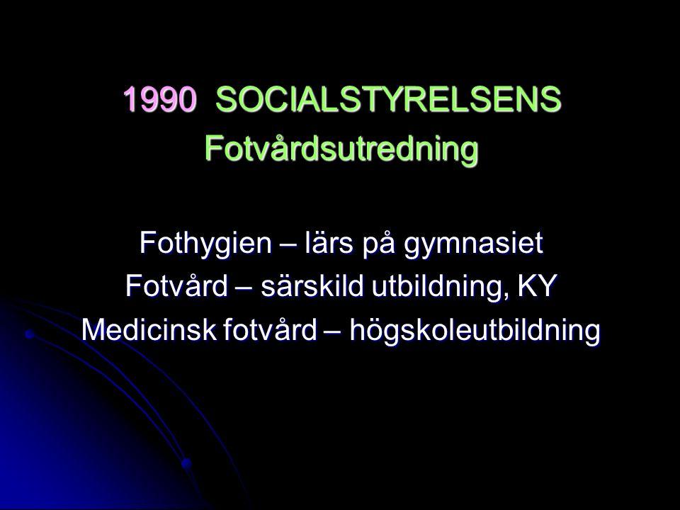 1990 SOCIALSTYRELSENS Fotvårdsutredning Fothygien – lärs på gymnasiet Fotvård – särskild utbildning, KY Medicinsk fotvård – högskoleutbildning