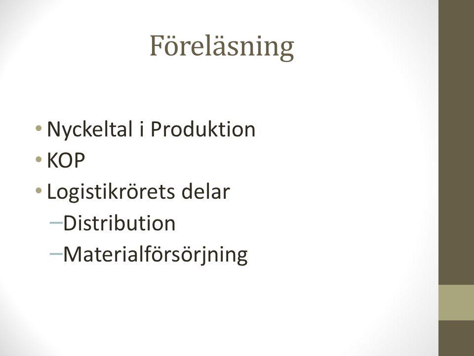 Föreläsning Nyckeltal i Produktion KOP Logistikrörets delar – Distribution – Materialförsörjning