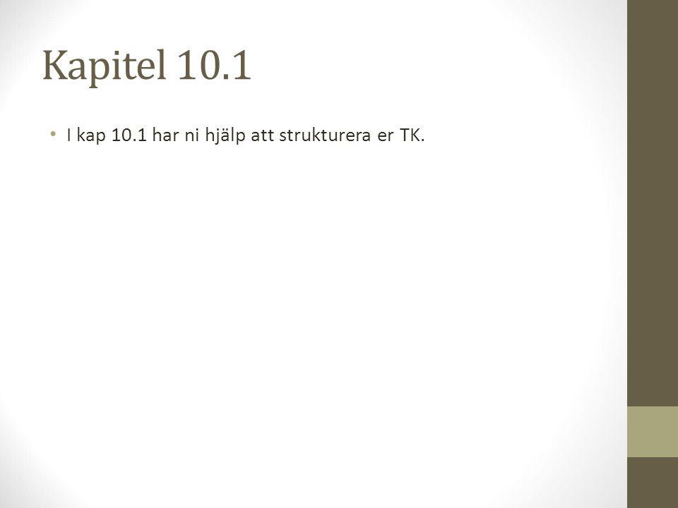 Kapitel 10.1 I kap 10.1 har ni hjälp att strukturera er TK.