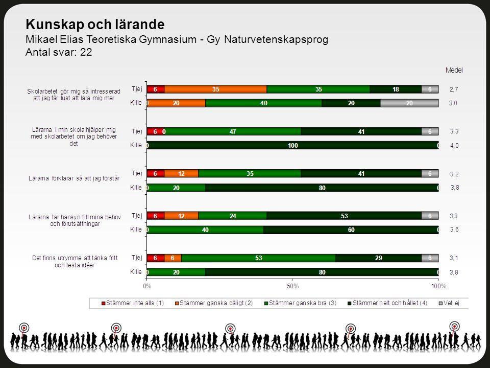 Kunskap och lärande Mikael Elias Teoretiska Gymnasium - Gy Naturvetenskapsprog Antal svar: 22