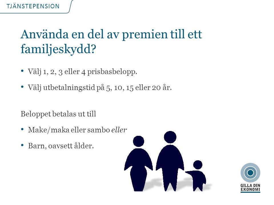 TJÄNSTEPENSION Använda en del av premien till ett familjeskydd? Välj 1, 2, 3 eller 4 prisbasbelopp. Välj utbetalningstid på 5, 10, 15 eller 20 år. Bel